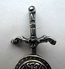 Load image into Gallery viewer, 1950s SCOTTISH SILVER BROOCH. Vintage Lapel Brooch or Miniature Kilt Pin: Celtic Sword & Shield Design by Robert Allison
