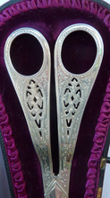 Load image into Gallery viewer,  Victorian SOLID SILVER Grape Scissors  in Fitted Leather Case