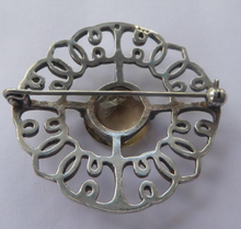 Load image into Gallery viewer, SCOTTISH SILVER Brooch. Stylish 1970s Celtic Design with Large Central Citrine
