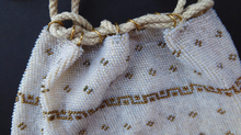 Load image into Gallery viewer, Sweet Little Vintage Reticule Drawstring Glass Beaded Bag. Cream & Gold Mirco Beads. Comes with Free Embroidered Trim. Good Condition