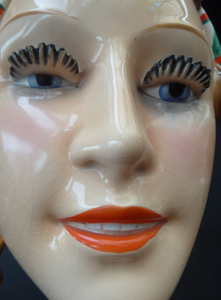 ART DECO Goebel Wall Mask. 1930s Lady with Checked Headscarf and Modelled Long Eyelashes