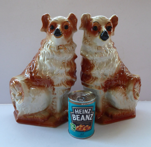 SCOTTISH POTTERY Antique Dogs: VICTORIAN - Bo'ness Pottery Pair of Large Upright Spaniels, c 1900