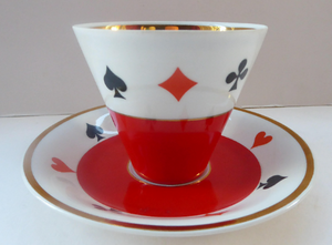 Four Polish CHODZIEZ Mid-Century Porcelain Tea Cups and Saucers. Playing Cards Design for BRIDGE