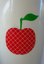 Load image into Gallery viewer, Quirky Vintage Storage Pot or Ice Bucket. Space Age White Plastic with Abstract Red Apple Motif, 1960s