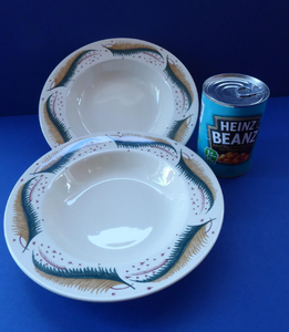 1950s Vintage Susie Cooper Pottery BRACKEN PATTERN Shallow Soup Bowls. KESTREL shape. 9 inches