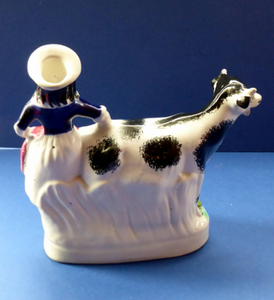 Fabulous 1880s Genuine ANTIQUE STAFFORDSHIRE Flatback Figurine / Cow Creamer. Woman and Cow