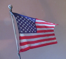 Load image into Gallery viewer, Vintage Leonore Doskow Hand Made Silver Flag Pole for a Desk