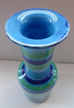 Load image into Gallery viewer, 1970s Vintage Italian BALDELLI POTTERY Vase with Turquoise, Emerald Green and Royal Blue Horizontal Stripes and Tall Chimney Shaped Neck