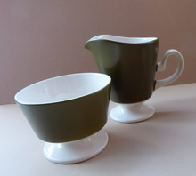 Load image into Gallery viewer, COMPLETE SET: Carlton Ware 1960s Matt Olive Green & White Coffee Set in OSLO Shape; Coffee Pot; Milk Jug, Sugar Bowl, Six Cups and Saucers