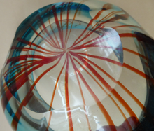 Load image into Gallery viewer, Unusual Chunky Blue Glass Bowl with Flat Polished Pontil Base - with Red Stripes from the Centre. Probably Italian, Murano