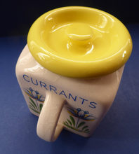 Load image into Gallery viewer, 1950s BRISTOL POTTERY Kitchen Canister or Storage Jar. Vintage Old Delft Tulip Design with Carrying Handle. CURRANTS