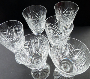 Large PAIR Waterford Crystal GOBLETS: CLARE Pattern. Largest Size Vintage Water / Wine Glasses