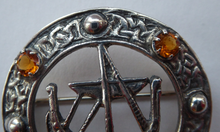 Load image into Gallery viewer, Vintage 1960s Edinburgh Hallmarked Celtic Brooch with Viking Ship. Maker's Name: H. Wright & Son