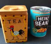 Load image into Gallery viewer, 1950's INTERSTACKING Wooden Food Kitchen Storage boxes. Coffee & Tea, Sugar and Flour. Good Vintage Condition