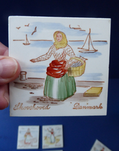 Load image into Gallery viewer, Vintage DANISH Miniature Ceramic Tiles. Folk Art Images of Ladies Working. Each Wears a Regional Costume