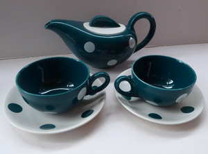 Rare 1950 J&G MEAKIN STUDIO WARE Tea for Two Set with Polka Dots. Designed by Frank Trigger