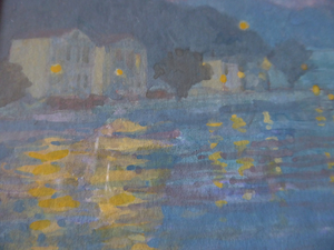 SCOTTISH ART. Pretty 1990s Vintage Watercolour by Irene HALLIDAY. Night Waters at Symi in Greece