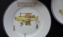 Load image into Gallery viewer, Rare 1930s SHELLEY POTTERY Mabel Lucie Attwell Boo-Boos Matched Trio: Cup, Saucer & Side Plate. Aeroplane Design
