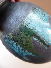 Load image into Gallery viewer, STUDIO POTTERY. Vintage 1960s Vase. Matt Black Lava Glaze & Blue and Green Lustre Squares: GS Mark