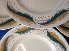Load image into Gallery viewer, 1950s Vintage Susie Cooper Pottery BRACKEN PATTERN Dessert Plates. KESTREL shape. 9 inches
