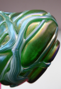 Vintage KRALIK ART GLASS Irridescent Green Glass Vase Decorated with Random Trails; c 1910
