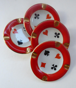 Polish CHODZIEZ Mid-Century Porcelain Ashtrays / Dishes. Four Playing Cards Design for BRIDGE