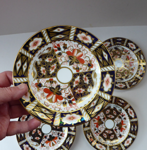 ROYAL CROWN DERBY Imari Pattern 2451. Four vintage side plates or tea plates. Diameter 6 1/4 inches