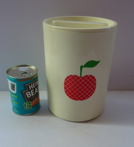 Quirky Vintage Storage Pot or Ice Bucket. Space Age White Plastic with Abstract Red Apple Motif, 1960s