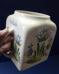 1950s BRISTOL POTTERY Kitchen Canister or Storage Jar. Vintage Old Delft Tulip Design with Carrying Handle. SUGAR