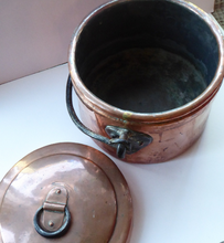 Load image into Gallery viewer, Arts & Crafts Antique Copper Lidded Pot or Storage Pail with Heavy Iron Handle and Hearts Decorations