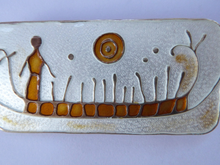 Load image into Gallery viewer, NORWEGIAN SILVER and Enamel Brooch by Nora Gulbrandsen for David Anderson. With title: Rock Carving in Norway