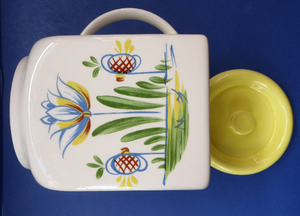 1950s BRISTOL POTTERY Kitchen Canister or Storage Jar. Vintage Old Delft Tulip Design with Carrying Handle. SALT