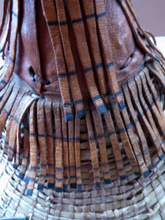 Load image into Gallery viewer, Vintage AFRICAN (Ghana) Woven Straw & Leather FULANI Hat with Straps. Nice, clean condition
