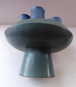 Brutalist Art Pottery Sculptural Flying Saucer Vase