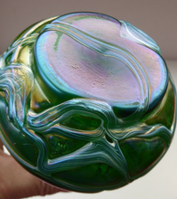 Load image into Gallery viewer, Vintage KRALIK ART GLASS Irridescent Green Glass Vase Decorated with Random Trails; c 1910