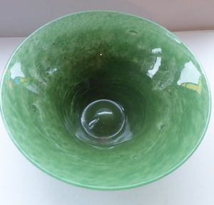 1930s WHITEFRIARS GLASS Bowl. Interesting Cloudy Glass Bowl on Tapered Foot. 9 3/4 diameter