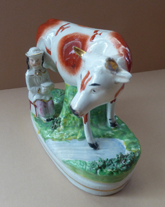 Genuine ANTIQUE STAFFORDSHIRE Figurine. Woman / Milkmaid with Large Cow by a Stream; 1880s