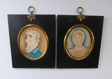 Load image into Gallery viewer, ANTIQUE Portrait Miniature of a Lady in a Cap. Watercolour Study in Antique Black Wooden Frame with Acorn Hanging Ring; c 1830s