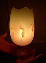 Load image into Gallery viewer, 1950s Scottish VASART Glass Tulip Lamp in Pastel Pink and Peppermint Shades. WORKING