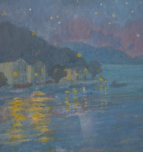 Load image into Gallery viewer, SCOTTISH ART. Pretty 1990s Vintage Watercolour by Irene HALLIDAY. Night Waters at Symi in Greece