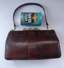 Load image into Gallery viewer, 1950s Vintage Brown Lizard Skin Handbag - with interesting clasp in the shape of three waves. Good Condition