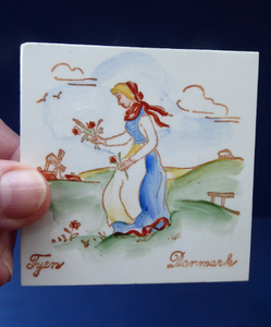 Vintage DANISH Miniature Ceramic Tiles. Folk Art Images of Ladies Working. Each Wears a Regional Costume