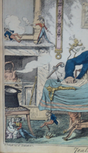 Load image into Gallery viewer, Original GEORGIAN Satirical Print by George Cruikshank (1782 - 1878). Hand-coloured etching entitled Jealousy and dated 1825