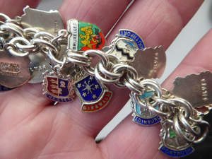 SILVER BRACELET with 36 Vintage SILVER and Enamel Towns Charms. Souvenirs of a Visit to the Town