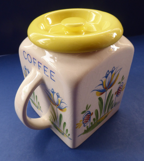 1950s BRISTOL POTTERY Kitchen Canister or Storage Jar. Vintage Old Delft Tulip Design with Carrying Handle. COFFEE