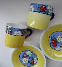 Load image into Gallery viewer, SCOTTISH POTTERY. Sweet Little 1930s BOUGH Pottery Pair of Cups and Saucers
