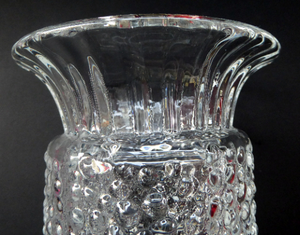 Vintage Clear Glass Vase with Trumpet Shaped Rim and Dimpled Neck; Probably Czech Sklo