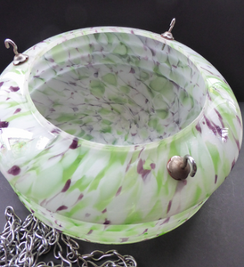 1930s Glass Hanging Goldfish Bowl or Flycatcher Lampshade. Opaque Glass with Tutti Frutti Splatters