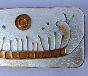 NORWEGIAN SILVER and Enamel Brooch by Nora Gulbrandsen for David Anderson. With title: Rock Carving in Norway