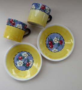 SCOTTISH POTTERY. Sweet Little 1930s BOUGH Pottery Pair of Cups and Saucers